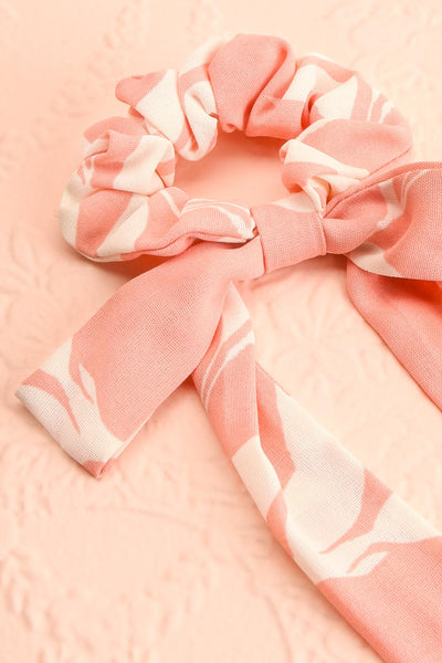 Benis Pink Hair Scrunchie w/ Bow | Boutique 1861 close-up