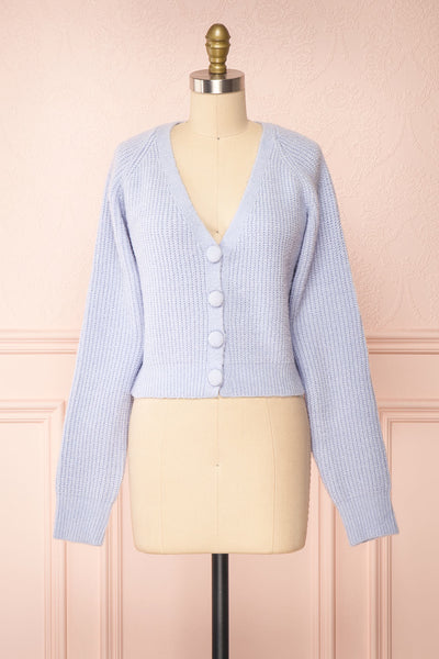 Benita Blue V-Neck Cropped Knit Cardigan | Boutique 1861 front view