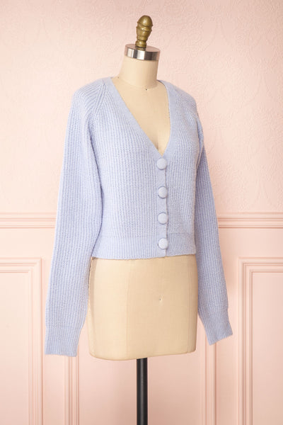 Benita Blue V-Neck Cropped Knit Cardigan | Boutique 1861 side view