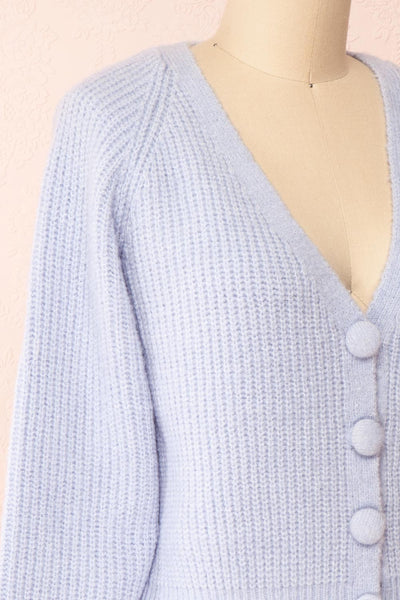 Benita Blue V-Neck Cropped Knit Cardigan | Boutique 1861 side close-up