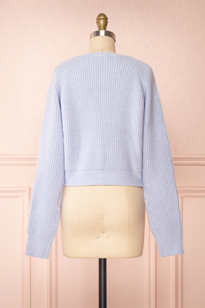Benita Blue V-Neck Cropped Knit Cardigan | Boutique 1861 back view