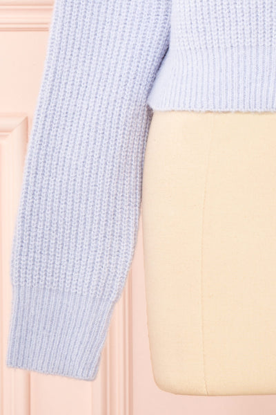Benita Blue V-Neck Cropped Knit Cardigan | Boutique 1861 bottom
