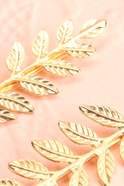 Benjamine Set of 2 Golden Branch Hair Pins close-up | Boudoir 1861