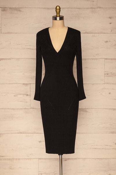 Beocin Black Ribbed Midi Dress | La petite garçonne  front view