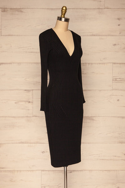 Beocin Black Ribbed Midi Dress | La petite garçonne  side view
