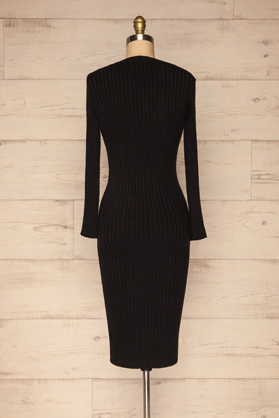 Beocin Black Ribbed Midi Dress | La petite garçonne  back view