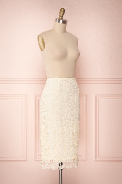 Beryl Ivory Crocheted Lace Fitted Midi Skirt | Boutique 1861 3