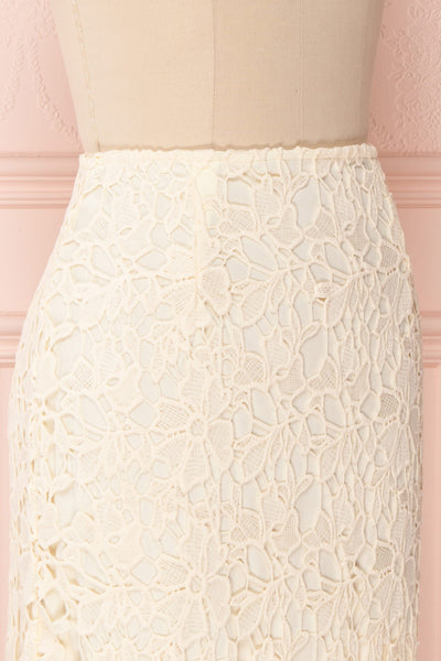Beryl Ivory Crocheted Lace Fitted Midi Skirt | Boutique 1861 4