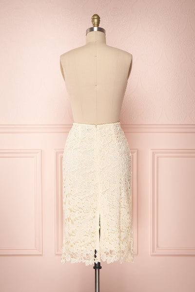 Beryl Ivory Crocheted Lace Fitted Midi Skirt | Boutique 1861 5