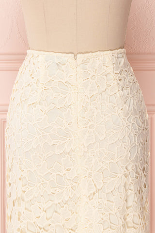 Beryl Ivory Crocheted Lace Fitted Midi Skirt | Boutique 1861 6