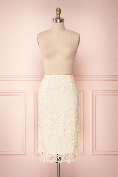 Beryl Ivory Crocheted Lace Fitted Midi Skirt | Boutique 1861 1