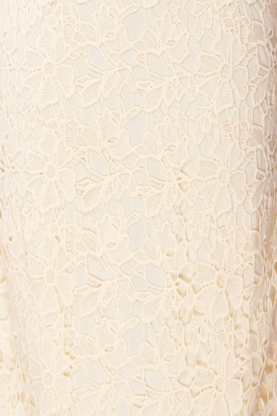 Beryl Ivory Crocheted Lace Fitted Midi Skirt | Boutique 1861 7