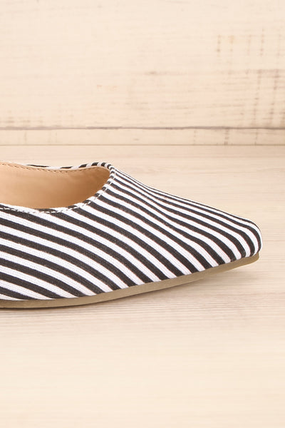 Berzélius Black & White Striped Pointed Toe Mules | La Petite Garçonne 7