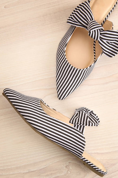 Berzélius Black & White Striped Pointed Toe Mules | La Petite Garçonne 1
