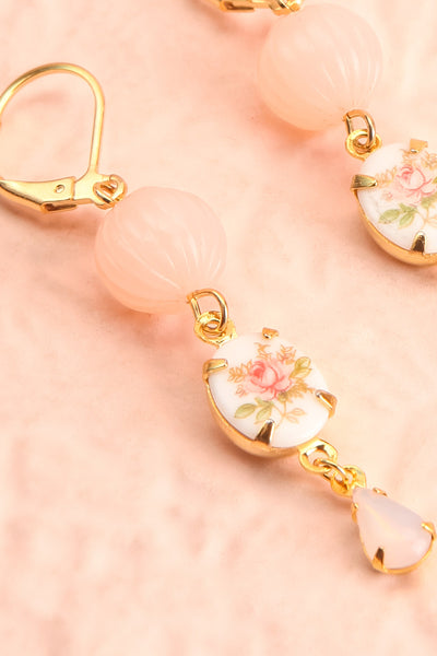 Bett Midler Vintage Floral Pendant Earrings | Boutique 1861 close-up