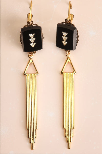 Betty Hutton Golden Art Deco Pendant Earrings | La Petite Garçonne