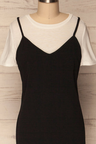 Beverce Black Slip Dress over White T-Shirt | La Petite Garçonne 2