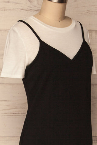Beverce Black Slip Dress over White T-Shirt | La Petite Garçonne 4