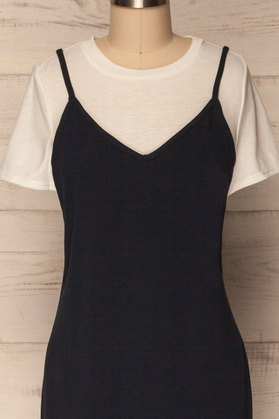 Beverce Navy Blue Slip Dress over White T-Shirt | La Petite Garçonne 2