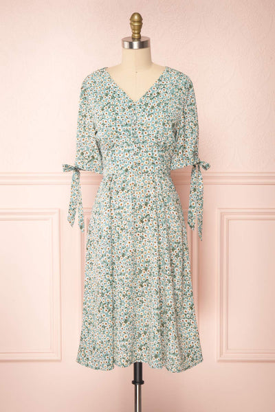 Bezia Blue Floral Short Sleeve Midi Dress | Boutique 1861 front view