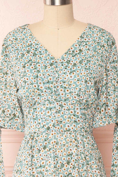 Bezia Blue Floral Short Sleeve Midi Dress | Boutique 1861 front close up
