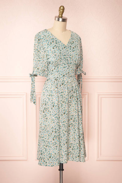 Bezia Blue Floral Short Sleeve Midi Dress | Boutique 1861 side view