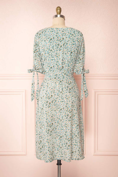 Bezia Blue Floral Short Sleeve Midi Dress | Boutique 1861 back view