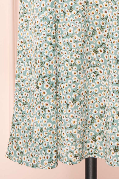 Bezia Blue Floral Short Sleeve Midi Dress | Boutique 1861 skirt
