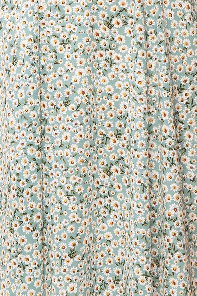 Bezia Blue Floral Short Sleeve Midi Dress | Boutique 1861 fabric