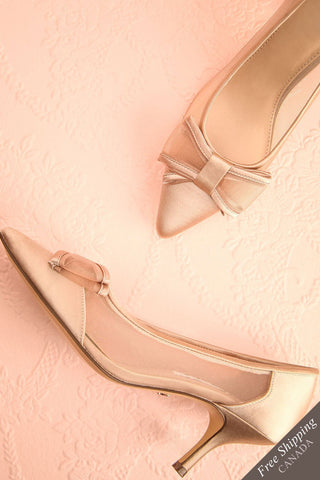 Biancara Champagne Beige Pointy-toe Kitten Heeled Shoes | Boudoir 1861
