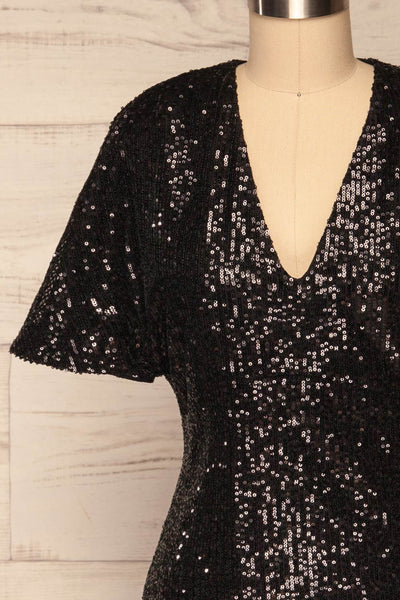 Biccari Black Short Sequin Dress front close up | La Petite Garçonne