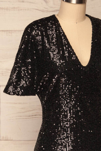 Biccari Black Short Sequin Dress side close up | La Petite Garçonne