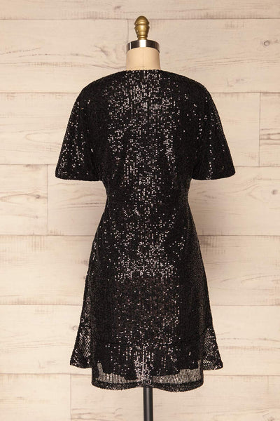 Biccari Black Short Sequin Dress back view | La Petite Garçonne