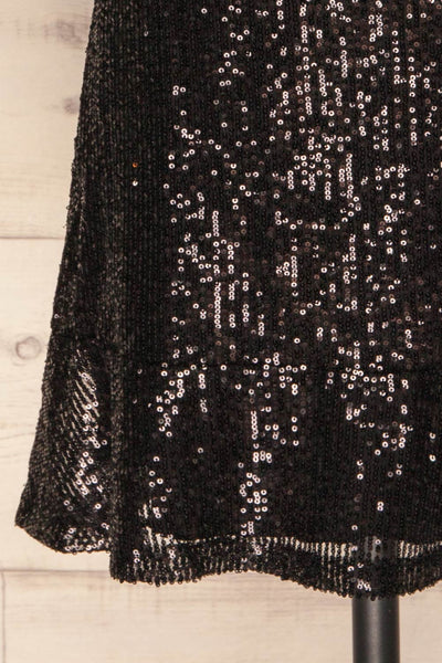 Biccari Black Short Sequin Dress bottom close up | La Petite Garçonne