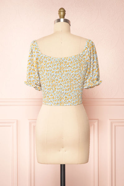 Bisha Green Floral Puffy Sleeve Crop Top | Boutique 1861 back view