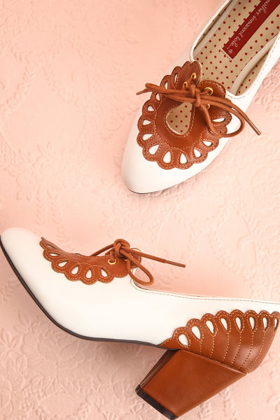 Birague Marron Tan & White Art Deco Inspired Heels | Boutique 1861