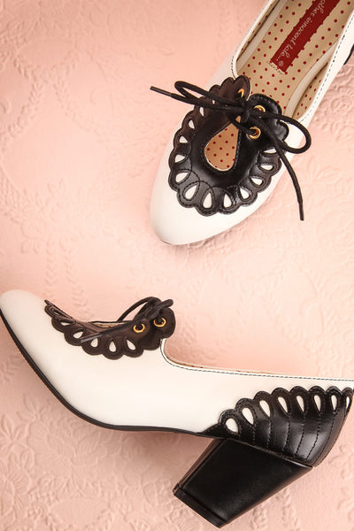 Birague Noir Black & White Art Deco Inspired Heels | Boutique 1861