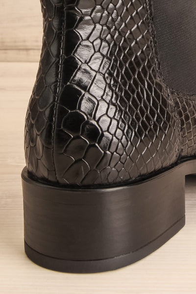 Bobby Snake Black Snakeskin Heeled Ankle Boots back close-up | La Petite Garçonne