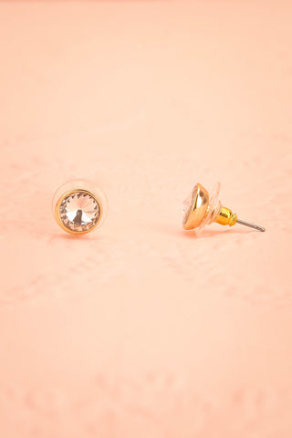 Bodink - Clear crystal golden stud earrings