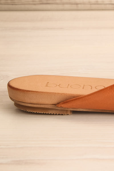 Botha Coffee Tan Slip-On Sandals | La petite garçonne side back close-up