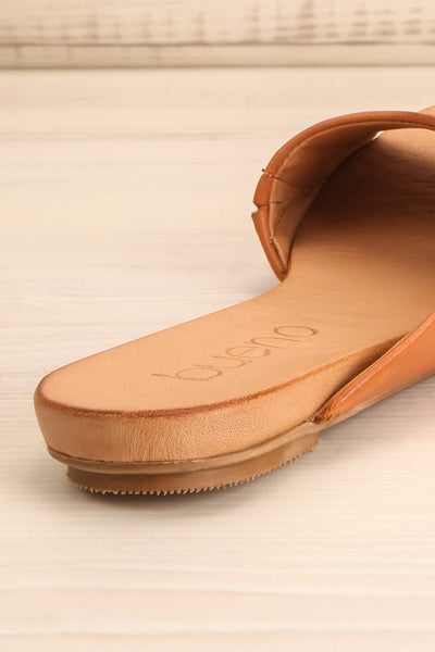 Botha Coffee Tan Slip-On Sandals | La petite garçonne back close-up