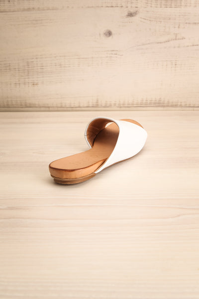 Botha Milk White & Tan Slip-On Sandals | La petite garçonne back view