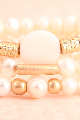 Bratislava Set of Pearl Bracelets w Golden Beads close-up | Boutique 1861