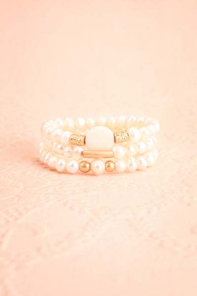 Bratislava Set of Pearl Bracelets w Golden Beads | Boutique 1861