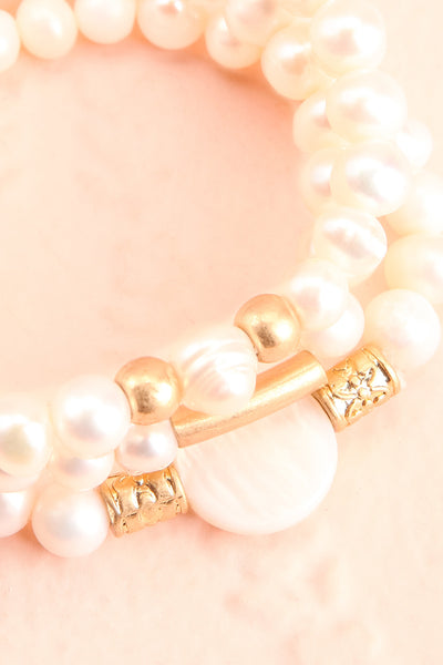 Bratislava Set of Pearl Bracelets w Golden Beads flat lay close-up | Boutique 1861
