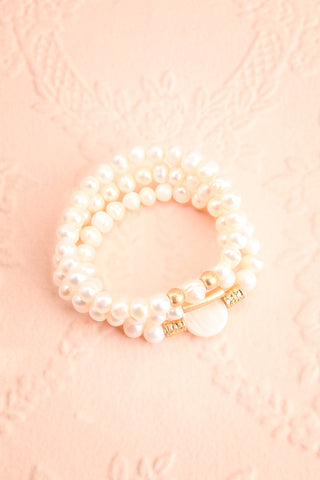 Bratislava Set of Pearl Bracelets w Golden Beads flat lay | Boutique 1861