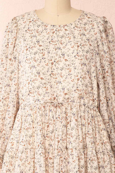 Bricelet Cream Floral Long Sleeve Dress | Boutique 1861 front close-up loose