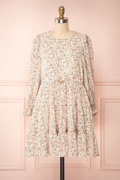 Bricelet Cream Floral Long Sleeve Dress | Boutique 1861 loose view