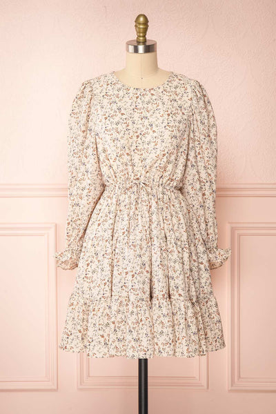 Bricelet Cream Floral Long Sleeve Dress | Boutique 1861 front view