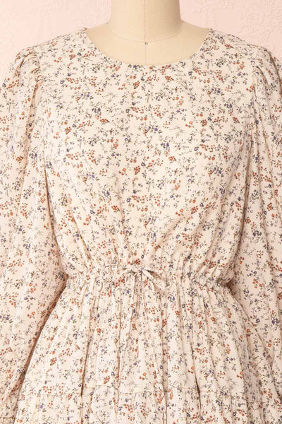 Bricelet Cream Floral Long Sleeve Dress | Boutique 1861 front close-up
